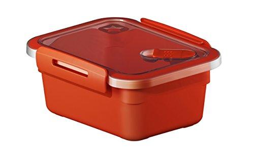 Rotho Memory Mikrowellendose mit Deckel 0.6 l und Ventil rechteckig, Kunststoff (BPA-frei), rot / transparent, 0,6 Liter (15 x 12 x 6,8 cm)