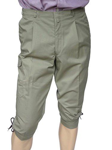 Jagd & Wander Kniebundhose mit Messertasche, Beintasche, Gesäßtasche, 2 Fronttaschen, leichte Herren Sommer Kniebundhose, Farbe Khaki, sehr strapazierfähig, 65% Baumwolle, 35% Polyester (48)