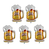 Holibanna Beer Cups Foil Balloons Oktoberfest Golden Beer Mug Festival Party Decor 70x50cm 5 Pcs