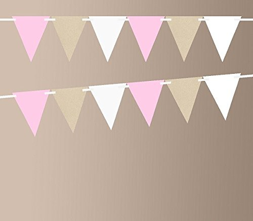 Kraft Brown Baby Pink Shimmer White 10ft Vintage Pennant Banner Paper Triangle Bunting Flags for Weddings, Birthdays, Baby Showers, Events & Parties