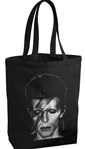 David Bowie/Stoffbeutel Canvas Bag Shopper/Black SCHWARZ