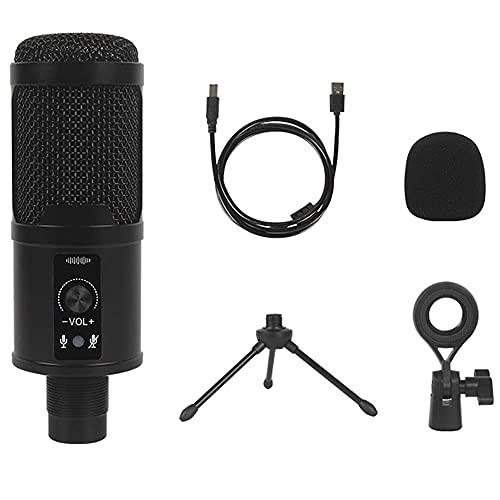 KELITINAus Micrófono de Condensador de Metal de Micrófono Usb con Tarjeta de Sonido Incorporada 192Khz / 24 Bits Adecuado para Computadora Portátil O Ventanas Adecuado para Podcast Dubbing Houtbube V