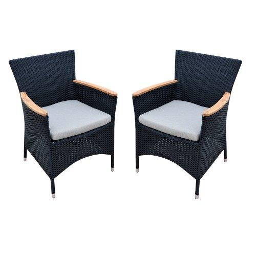 Ambientehome Polyrattan Stuhl Sessel mit Teakarmlehne inkl. Kissen Akasia, schwarz, 2-teiliges Set