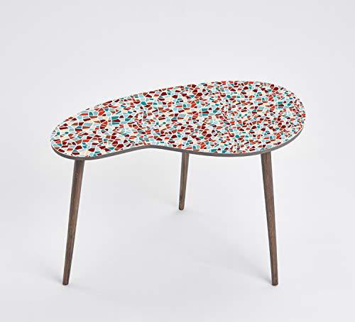 Queence Design-Tisch/Beistelltisch/Couchtisch/Retro Design/Nierenform/Coffee Table Tisch/Nierentisch/Telefontisch/Größe: 60x40, Farbe:Kacheln/Bunt