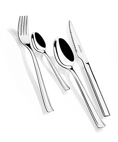 Monix Europa - Set de cubiertos 24 piezas de acero inoxidable con cuchillo chuletero, acabado pulido brillo...