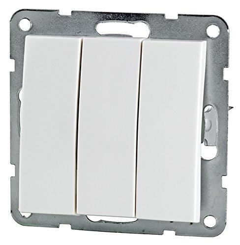 3er Serienschalter weiß (3er Serienschalter, Kunststoff weiß)