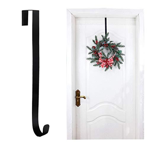 We Moment Wreath Hanger for Front Door Metal Wreath Door Hanger Christmas Decoration Over The Door Single Hook,Black