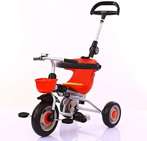 Bck Triciclo niños Fold al azar que permite llegar fácilmente plegables for niños Trike for 1-3 años Niño Niña, niño triciclos Bike Balance 3 Rueda de bicicleta con el frente de la cesta y Par