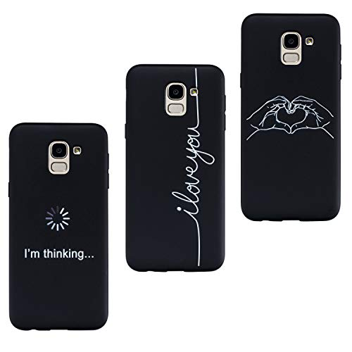 HopMore 3X Coques pour Samsung Galaxy J6 2018 Coque Silicone Motif éléphant Swag Etui Souple Noir Antichoc Ultra Mince Fine Gel Bumper Slim Case Étui Housse pour Fille Femme Homme - Motif C