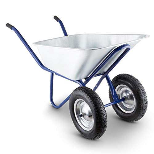 Waldbeck Heavyload - Gartenkarre, Schubkarre, 120 L Volumen, 320 kg max. Zuladung, 2-rädrige Vorderachse, 4.00 Luftgummireifen, Gummigriffe, blau