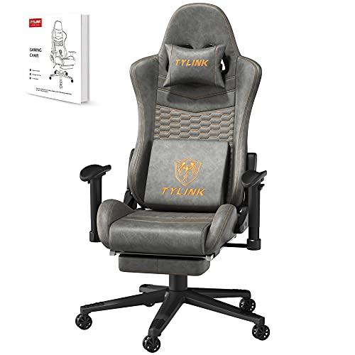 TYLINK Gaming Stuhl, Gaming Chair Sessel PC Racing Ergonomischer Stuhl Gamer Stühle Bürostuhl, Einstellbare Armlehne, Schreibtischstuhl mit Kopfstütze Lendenkissen Fußstütze, Atmungsaktiver Stoff
