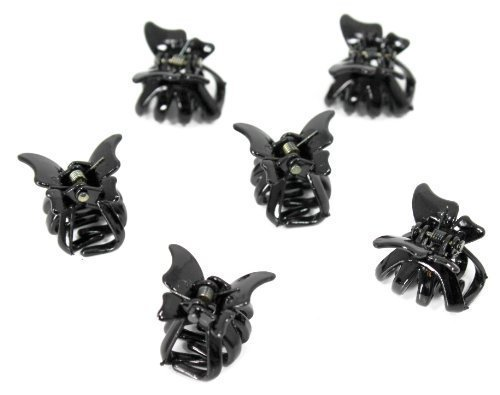 Set of 6 Mini 2cm Butterfly Hair Claws/Clips - Black by Hats By Cressida