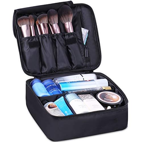 Reise-Make-up-Tasche Große Kosmetiktasche Make-up-Tasche Organizer für Frauen und Mädchen (Schwarz)