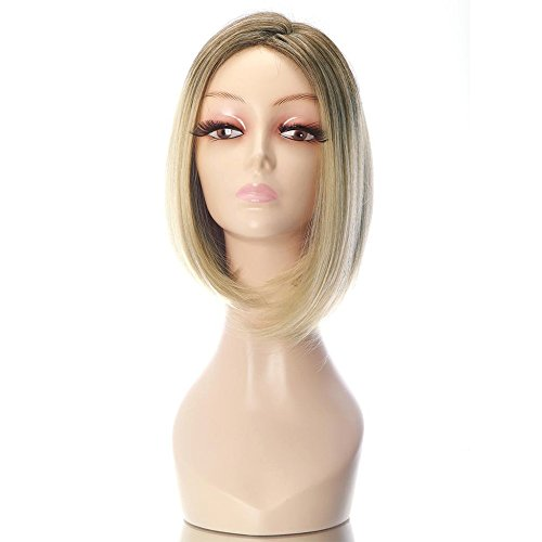 """Rabbitgoo Short Bob Wig for Women Blonde Wig Heat Resistant Halloween Costume Straight Wig Synthetic Cosplay Hair Wig 15.7"""" Light Gold"""