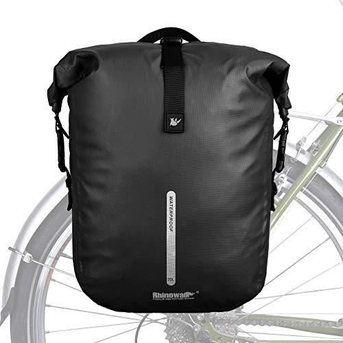 Bolsa Alforjas de Bicicleta Impermeable,Bolsa de Bicicleta Alforja Trasera Rack 20L Multifunción para Bicicleta MTB Carretera Viajes equitación,Negro