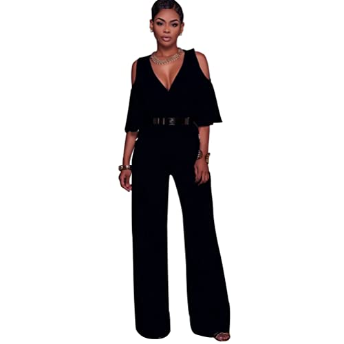 05186417787 Dooxi Womens Solid Color High Waist Wide Leg Long Pants Jumpsuits V Neck  Evening Party Romper