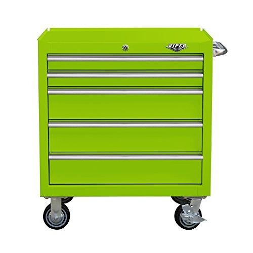 Viper Tool Storage V3005LGR 30' 5-Drawer Steel Rolling Cabinet, Premium Series, Lime Green
