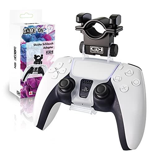 GK-Pipes Shisha Schlauchhalter | Playstation 5 Controller Adapter | PS5 Gamepad Aufsatz | Shisha Schlauch Halterung kompatibel mit allen Schläuchen | Einstellbarer Shisha Mundstück Grip