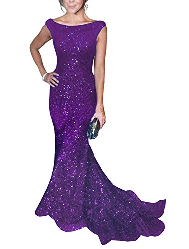 SOLOVEDRESS Women's Mermaid Sequined Formal Evening Dress for Wedding Prom Gown (US 16 Plus,Purple) (Apparel)