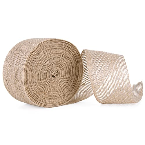 DEXIDUO Rollo de cinta de yute de arpillera, cinta de arpillera duradera rústica natural de 10 m, rollo de arpillera de arpillera retro para envolver regalos, decoración de bodas, manualidades
