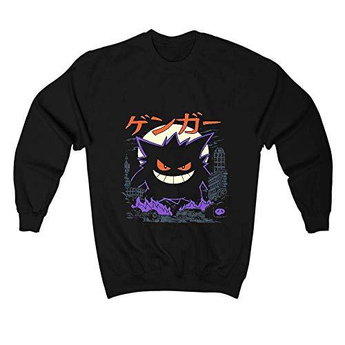 Gengar Kaiju Pokemon Sweatshirt Sweater Pullover - Unisex Black Made in USA by DKN