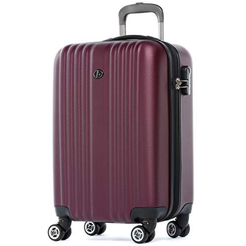 FERGÉ Handgepäck-Koffer Hartschale Toulouse Bordgepäck Rollkoffer 55 cm Reisekoffer Kabinen-Trolley 4 Rollen 100% ABS rot