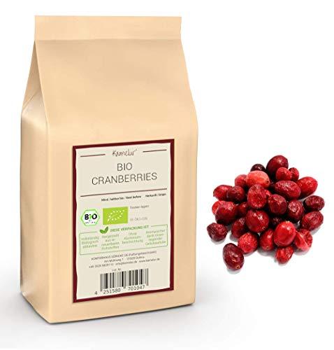 500g BIO Cranberries gefriergetrocknet ohne Zucker-Zusatz - Cranberry ohne jegliche Zusätze aus kontrolliert bilogischem Anbau - in biologisch abbaubarer Verpackung