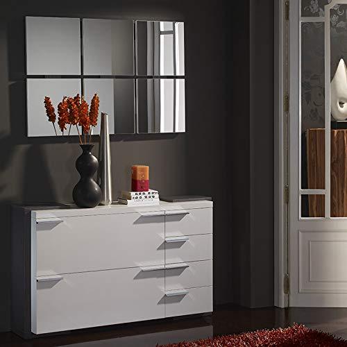 Arucas Schoenenkast, wit, hout, grijs, met spiegel