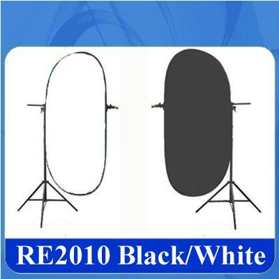DynaSun RE2010 Fondale Background Pieghevole Doubleface Professionale con Borsa da Trasporto, 150x200 cm, Bianco/Nero