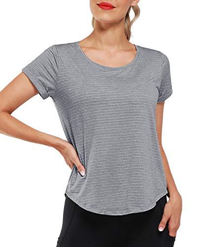 Promover Camisetas y Camisas Deportivas para Mujer de Manga Corta Tank Tops de Yoga Crewneck Camiseta para Verano Fitness Deportes