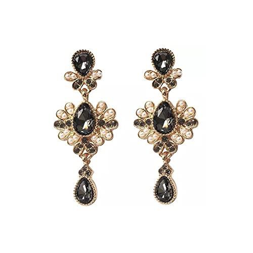 Oukerde Pendientes colgantes de cristal con diamantes de imitación de moda para mujer, pendientes de corte largo, pendientes vintage de plata S925, pendientes de tuerca de plata