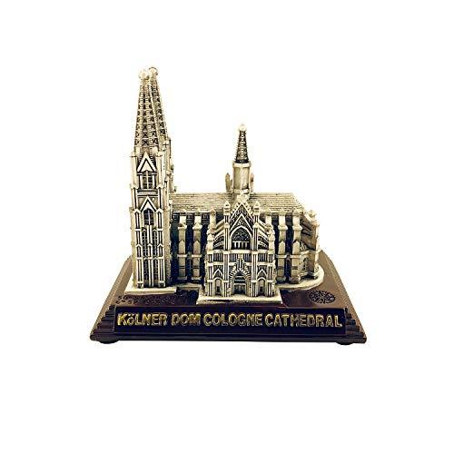 I LOVE KÖLN Kölner Dom Kirche Deutschland Modell Figur Statue (4 cm Höhe) (Silber Braun)
