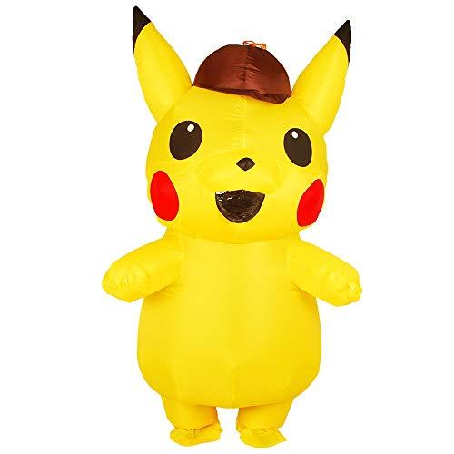 Happy Walk disfraz de Pikachu inflable para adultos y niños, disfraz de Pikachu amarillo para Halloween, disfraz de Pikachu para fiesta de disfraces inflables para adultos y niños con soplador de aire