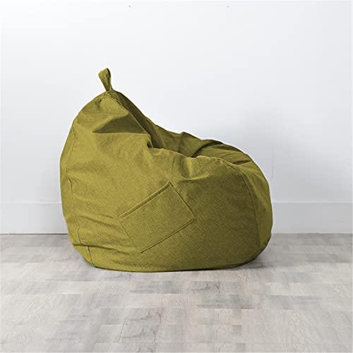Puff Pera sin Relleno para Adultos y Niños, Chickwin Exterior y Interior Bean Bag Bolsa de Frijol para Silla Tumbona Perezosa Funda para Sillón Cubierta de Sillón (Verde Oliva,70x80cm)