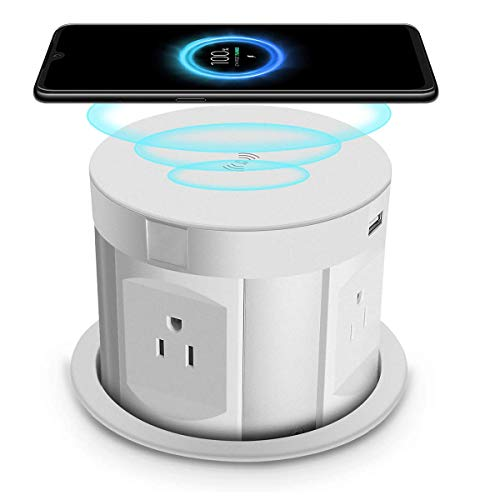 4.7 inch Pop Up Sockets,Retractable Recessed Power Strip,Pop Up Power Strip 4 Outlets,with Wireless Charger,2 USB Charging Ports for Office Table and Workshop (White)