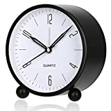 Alarm Clock, 4 Inch Round Battery Operated Analog Alarm Clock Silent Non Ticking, Easy Set and Night Light Function, Simple Stylish Design for Desk/Bedroom Gift Clock(Black)