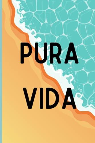 Pura Vida Journal: Cute Costa Rica Beach Lined Notebook For Women
