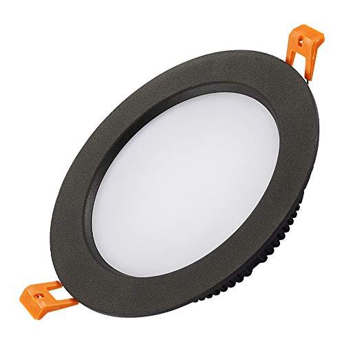 Lámpara techo montada al ras aluminio Negro redondo Súper brillante LED empotrado Luz techo Downlight Ahorro de energía Panel plano comercial Foco integrado integrado Montaje de panel rejilla Luz
