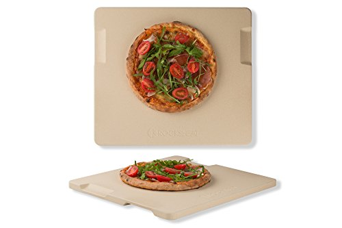 Pizza Stone Baking amp Grilling Stone Perfect for Oven BBQ and Grill Innovative Double  faced Built  in 4 Handles Design 14quot x 16quot x 067quot Rectangular
