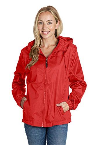 Equipment De Sport USA Ladies Hooded Wind Resistant/Water Repellent Black Windbreaker Jacket ,Red,XLarge