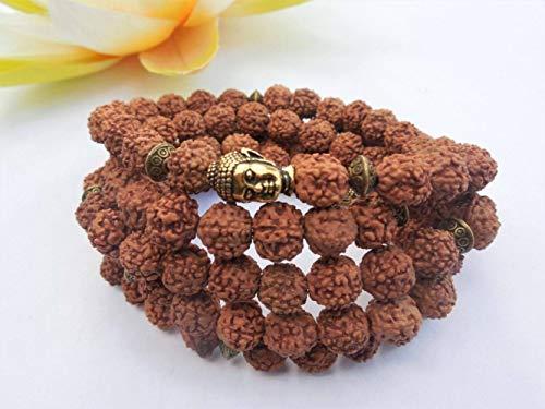 Piner 108 Mala Beads Rudraksha Bracciale Rudraksha Collana Natural Bodhi Seed Yoga Braccialetti di Preghiera Buddha Mala Bracciali da Polso, 19 cm