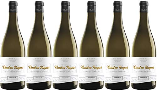 Cuatro Rayas Vino Blanco Verdejo Fermentado en Barrica D. O Rueda - 6 Botellas de 750 ml (Total: 4,5 L)