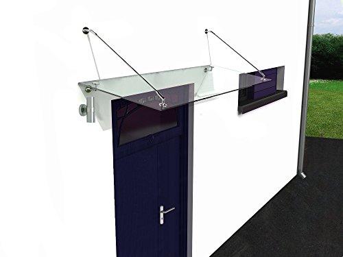 200 x 90 cm (2 Haltestangen) Glasvordach Vordach Türvordach Türdach Haustür Klarglas Glas Edelstahl VSG