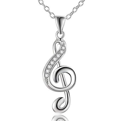 AMOZ Collares para Mujer Amp, Colgantes, Joyería de Moda Chic Treble G Clef Music Note Charm Colgante Collar Musica, Joyería Amp, Relojes para Navidad Moda Del Día de San Valentín