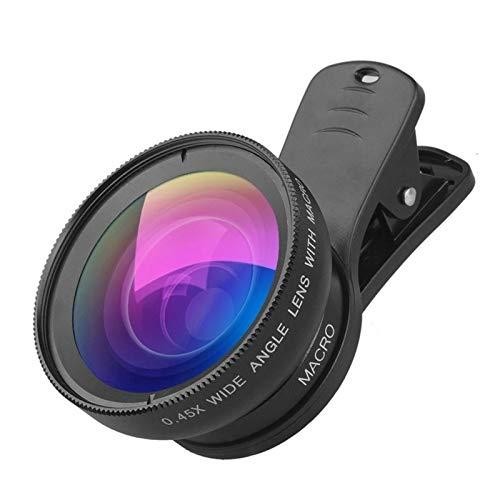 Kit de lentes de cámara de teléfono de 0,45 x gran angular macro lente de 12,5 x lente de cámara HD para Huawei Xiaomi en el teléfono celular lente de cámara de teléfono (color: negro)