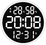 Mohan Orologio da Parete Digitale da 12 Pollici, Grande Orologio da Parete con Display A LED con Data E Ora, Visualizzazione Dell'umidità della Temperatura Interna (White)