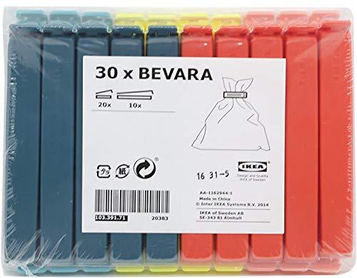 Ikea 103.391.71 Bevara - Clip per chiudere sacchetti, 30 pezzi, colori vari, misure varie Color