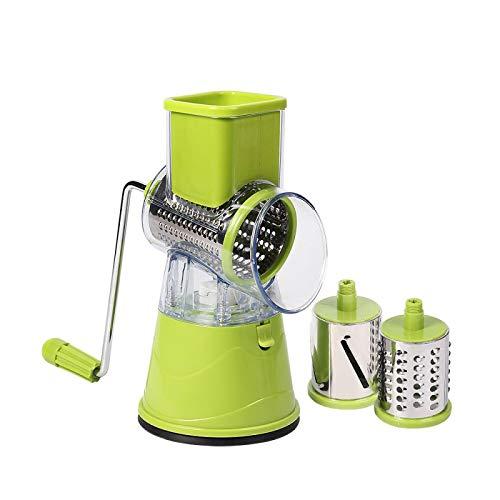 Cortador de manzanas manual de papas de verduras de acero inoxidable cortador de rodillo de cocina máquina de corte manual procesador de alimentos verde