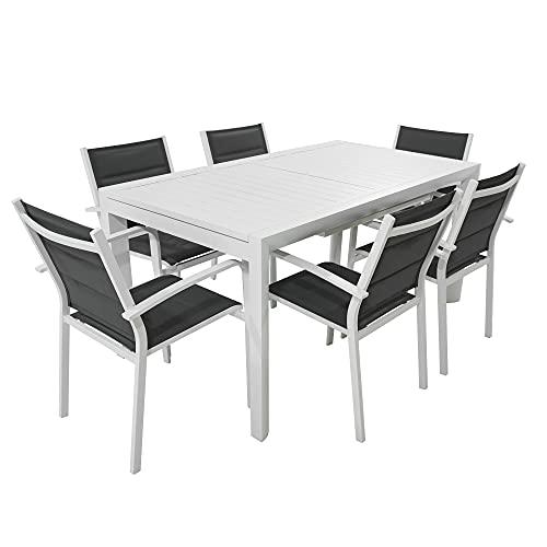 Set Tavolo con 6 SEDIE da Giardino da Esterno in Alluminio ALLUNGABILE da 160 CM A 240 CM con Top DOGHE POLTRONE in Alluminio con TEXTILENE Imbottito (Bianco)