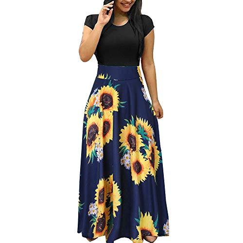 Lotus.Flower Women Summer Short Sleeve Sunflower Print Sundress Casual Swing Dress Maxi Dress